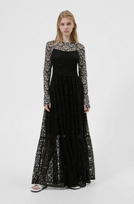 Slip-style maxi dress in lace with tiered skirt, Black