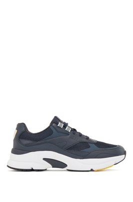 Running trainers with leather and open mesh, Dark Blue