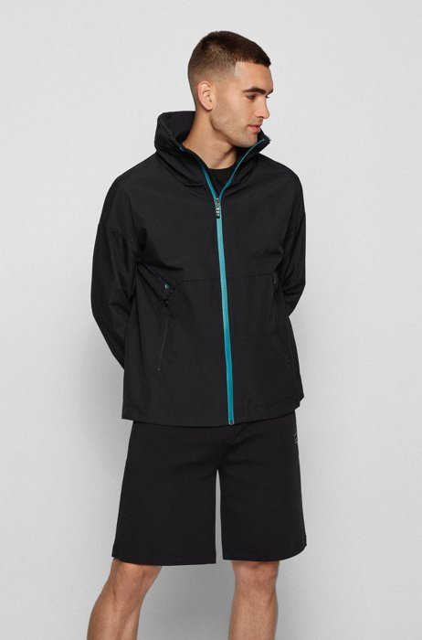 Relaxed-fit water-repellent jacket with carbon-tape trims, Black