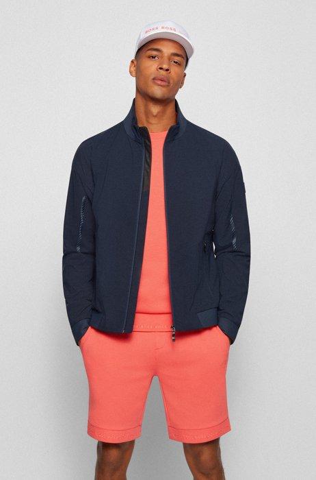 Water-repellent zip-up jacket with logo details, Dark Blue
