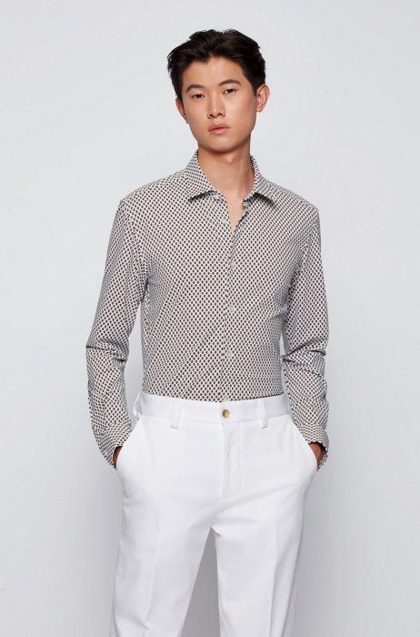 Printed slim-fit shirt in performance-stretch fabric, Beige