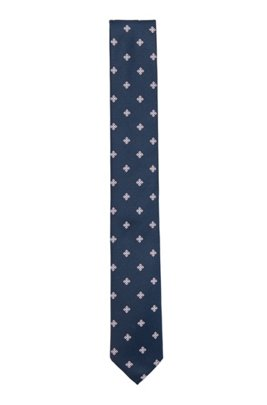 Patterned tie in jacquard fabric, Dark Blue