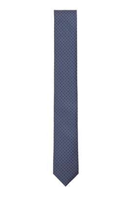 Patterned tie in jacquard fabric, Blue