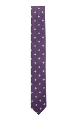 Patterned tie in jacquard fabric, Purple