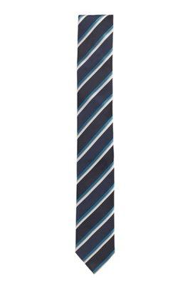 Diagonally striped tie in Italian silk jacquard, Dark Blue