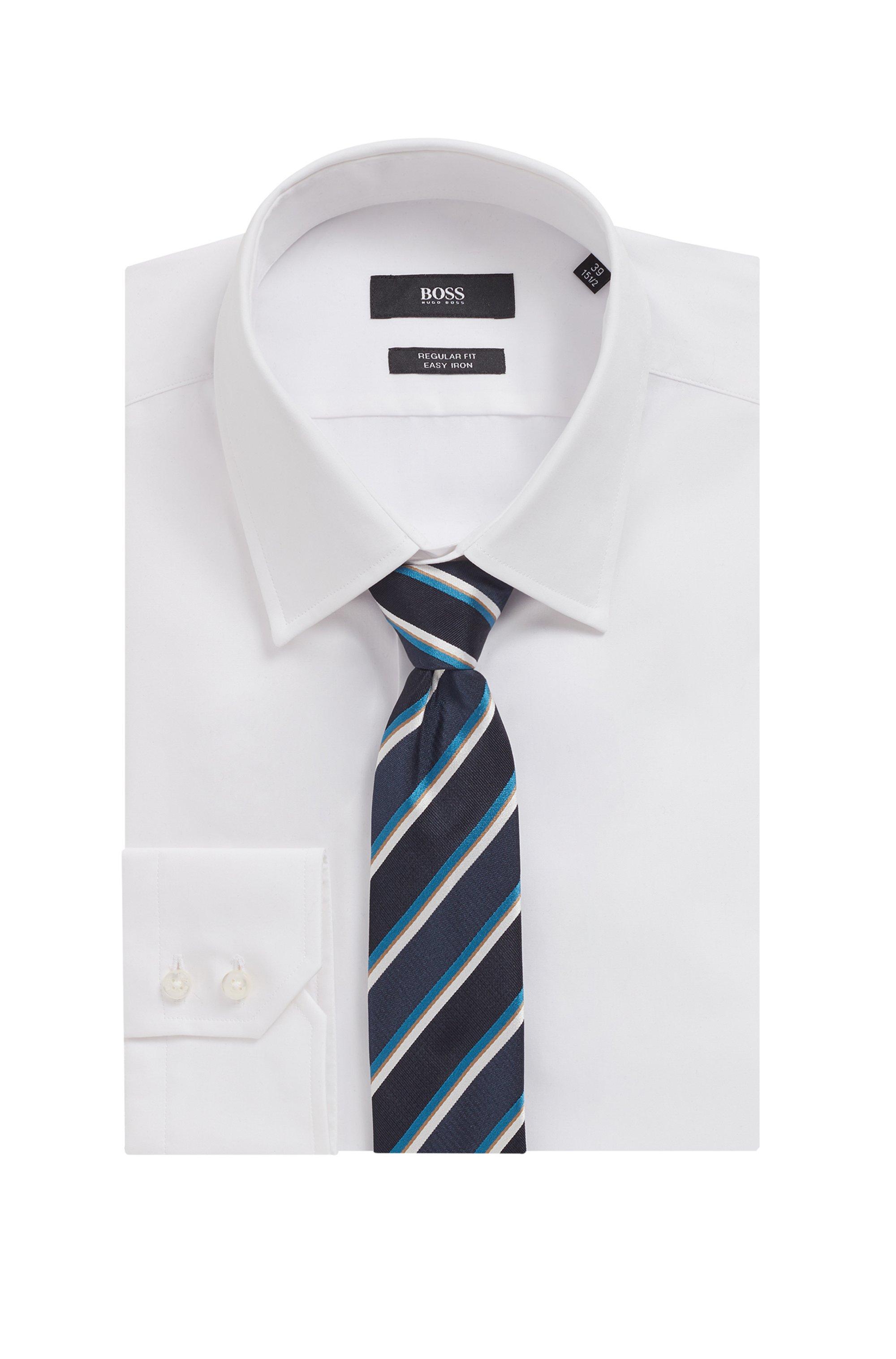 Diagonally striped tie in Italian silk jacquard