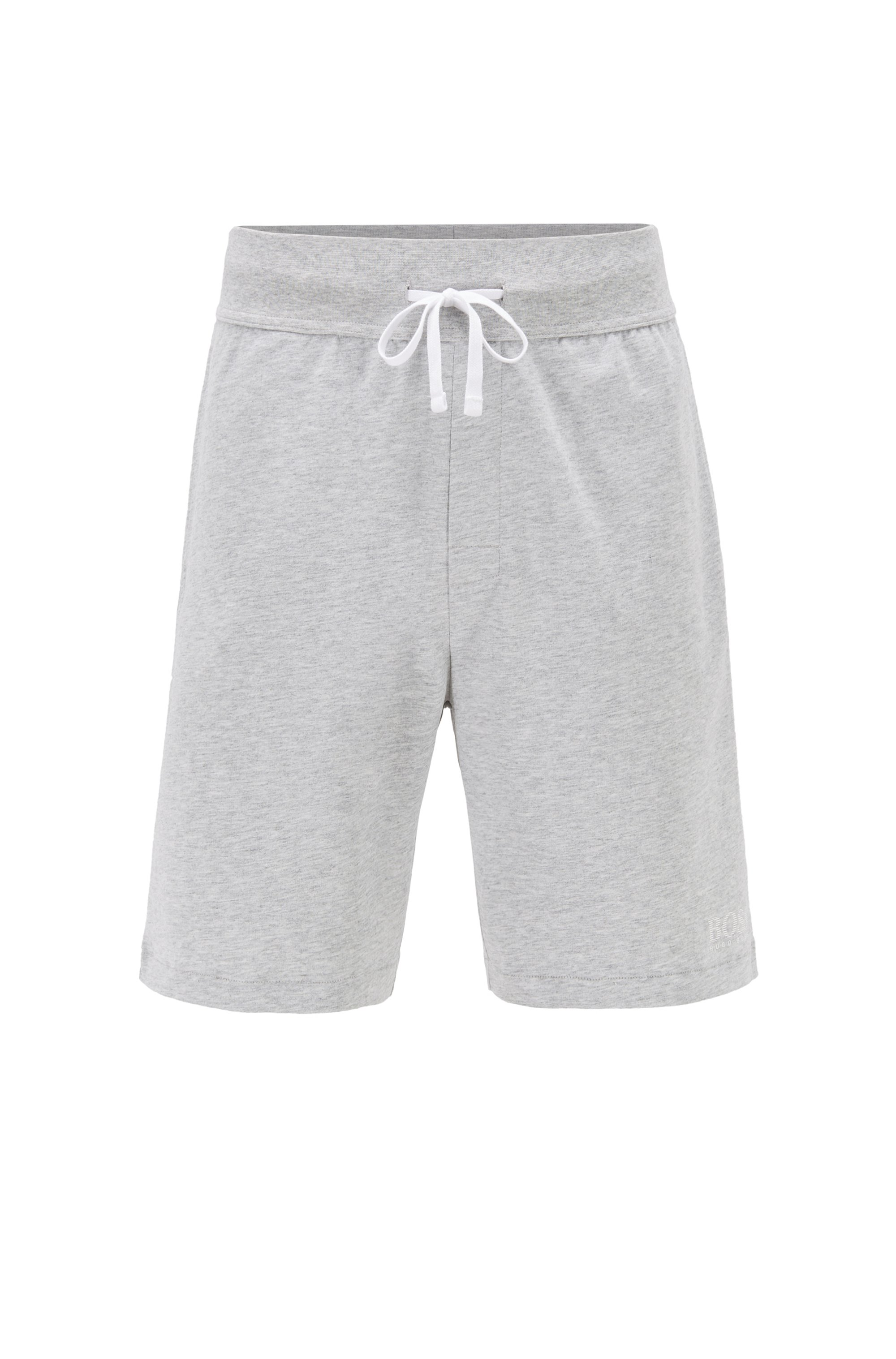 Loungewear shorts in cotton with contrast tape and logo, Grey