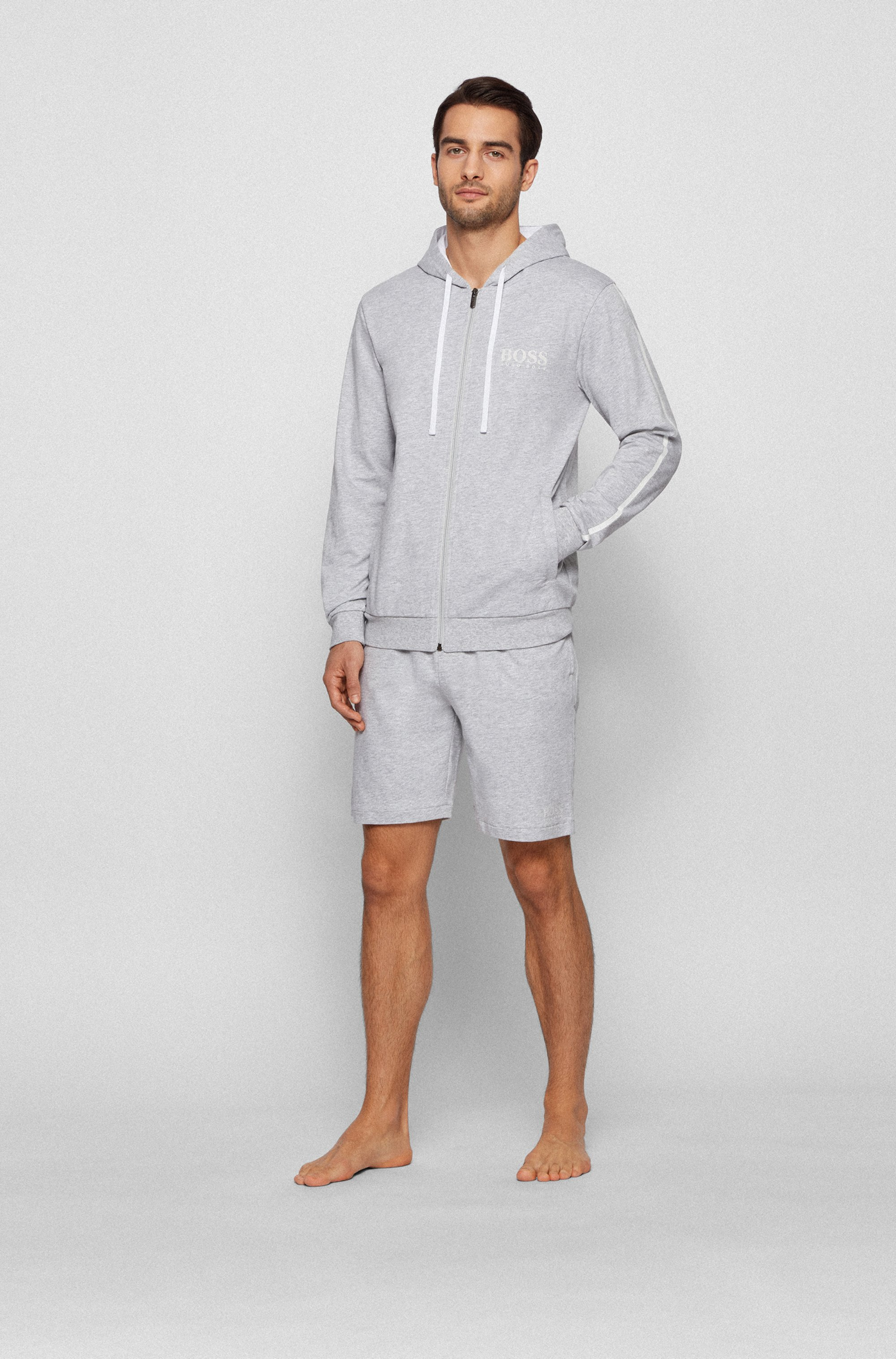 Loungewear shorts in cotton with contrast tape and logo