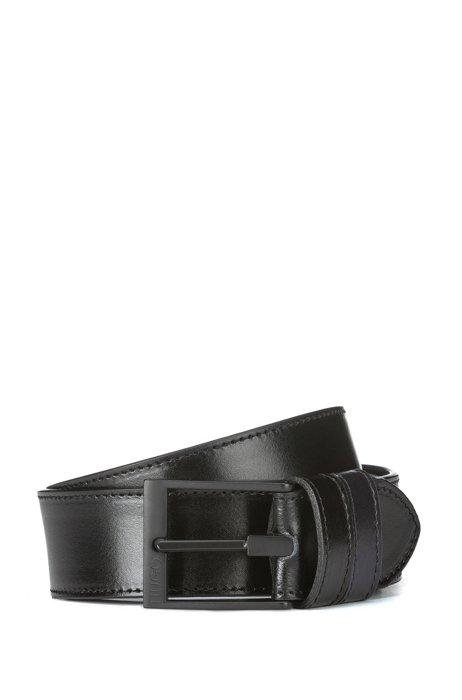 Reversible leather belt with matte-black buckle, Black