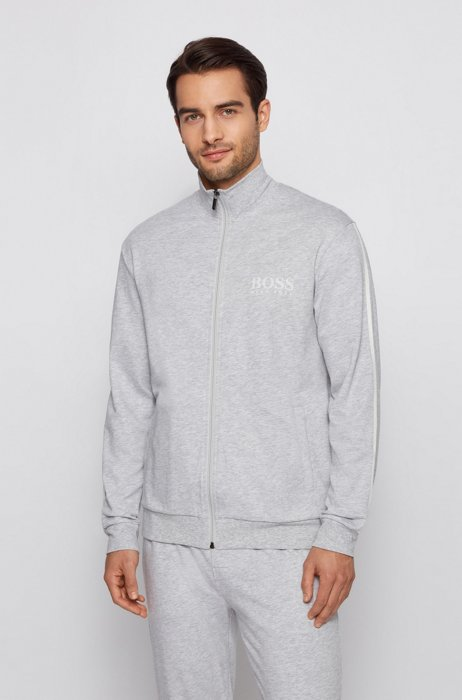 French-terry-cotton loungewear jacket with contrast-stripe sleeves, Grey