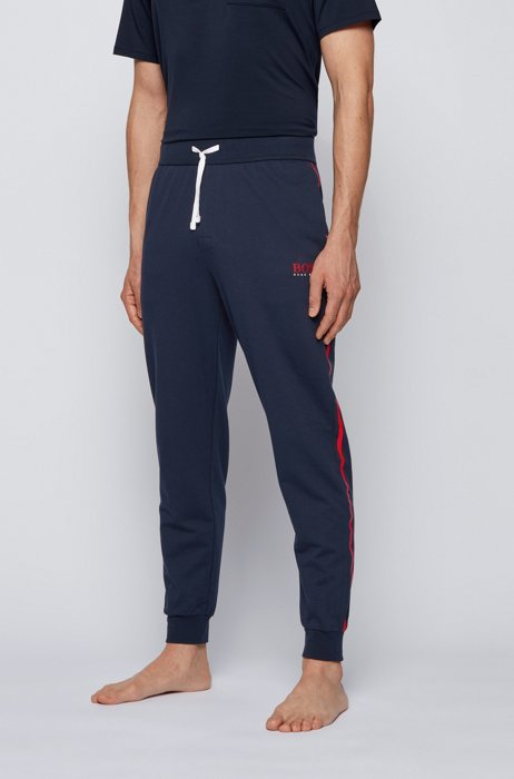Tracksuit bottoms in cotton with contrast tape and logo, Dark Blue