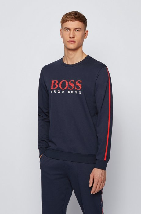 French-terry sweatshirt with striped logo and contrast tape, Dark Blue