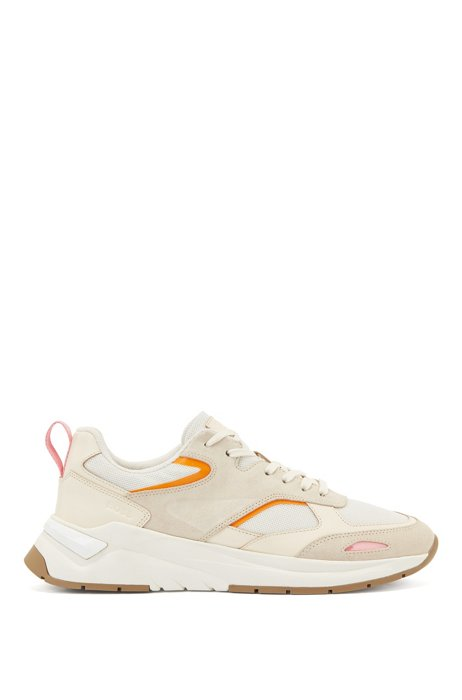 Mixed-material trainers with pop-color accents, White