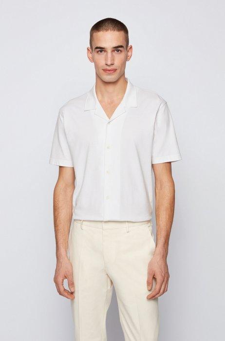 Slim-fit short-sleeved shirt in melange jersey, White