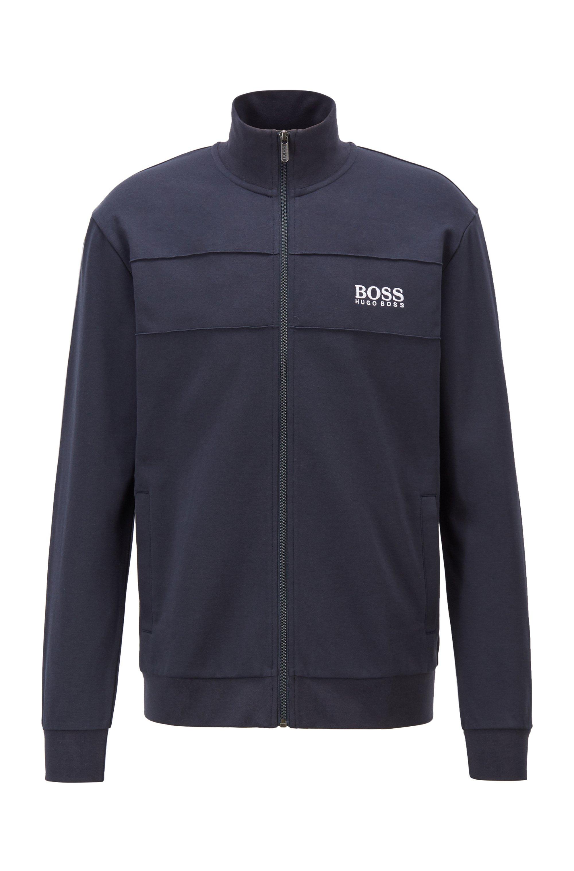 Zip-up jacket in a lightweight cotton blend, Dark Blue