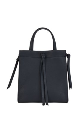 Grained-leather tote bag with knotted tassel trims, Dark Blue