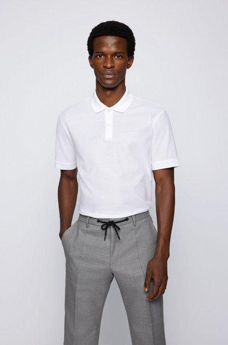 Regular-fit polo shirt in mercerized-cotton mesh, White