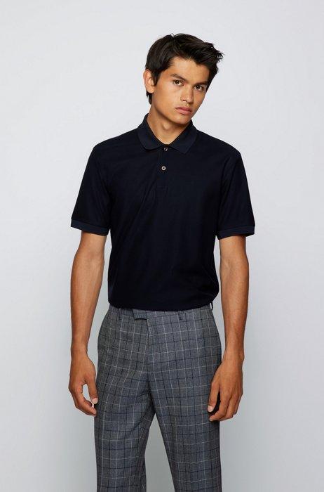 Regular-fit polo shirt in mercerized-cotton mesh, Dark Blue