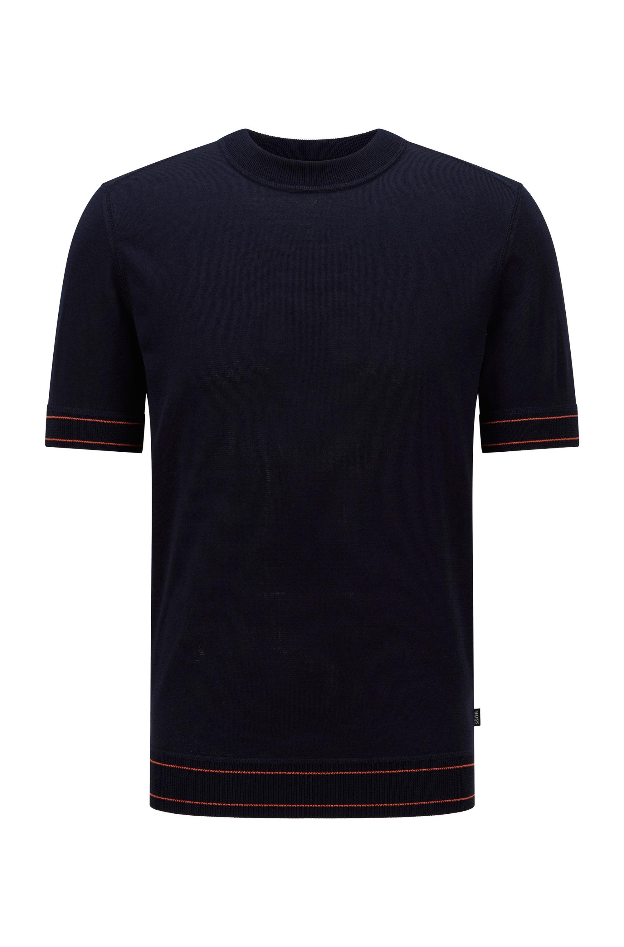 T-shirt-style sweater in mercerized cotton, Dark Blue