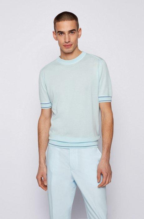 T-shirt-style sweater in mercerized cotton, Light Blue