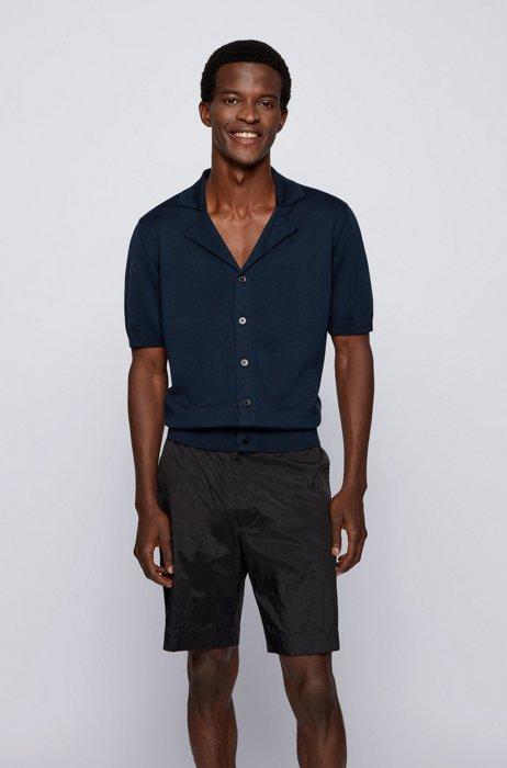 Short-sleeved cardigan knitted in mercerized cotton, Dark Blue