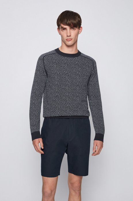 Cotton-blend sweater with two-tone jacquard-woven pattern, Dark Blue