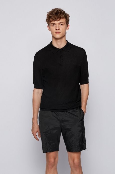 Short-sleeved sweater in mixed structures with polo collar, Black