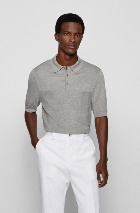 Short-sleeved sweater in mixed structures with polo collar, Silver