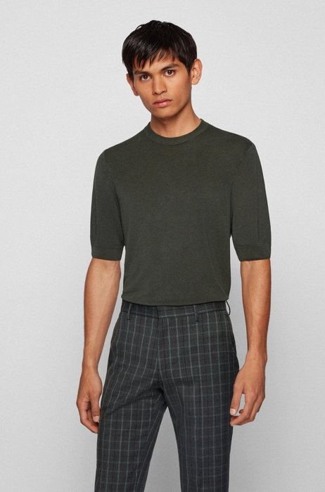 Short-sleeved sweater with mixed structures, Dark Green