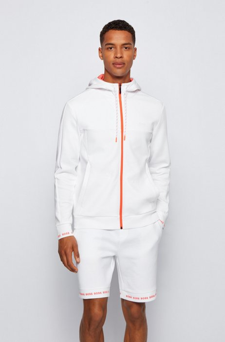 Zip-up hooded sweatshirt with logo embroidery, White