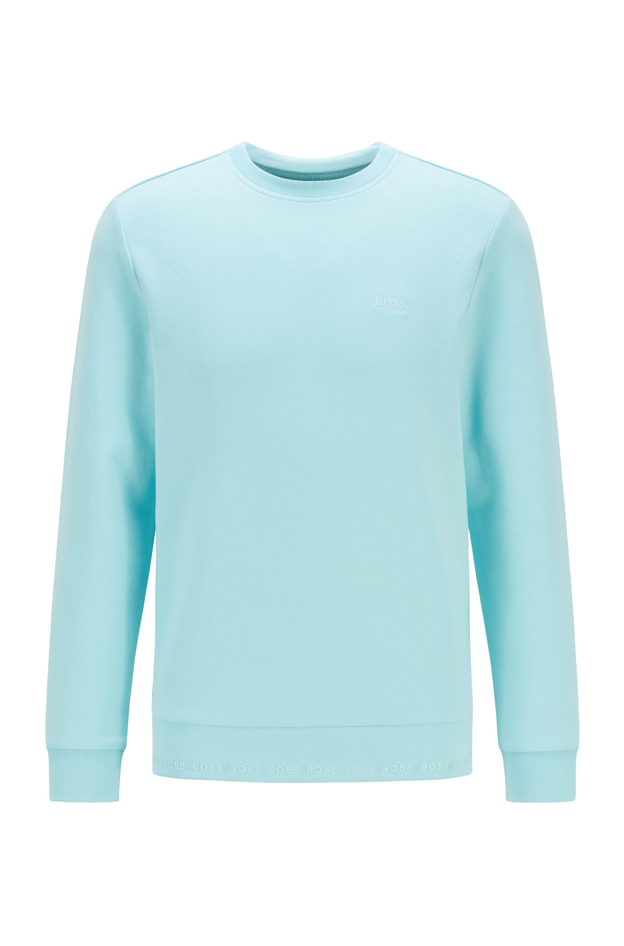 Slim-fit sweatshirt with embroidered-logo detailing, Light Blue