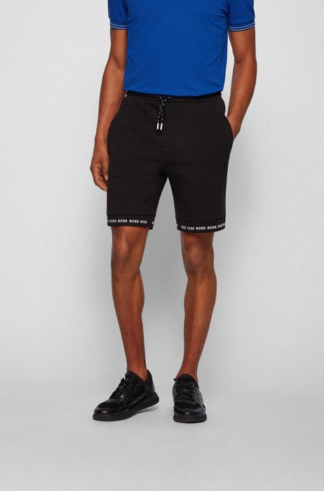 Regular-fit shorts in stretch jersey with logo hems, Black