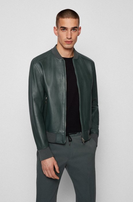 Regular-fit jacket in nappa leather with ribbed details, Dark Green