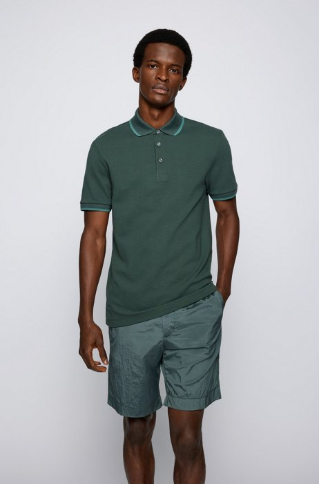 Slim-fit polo shirt in double-knit cotton, Dark Green