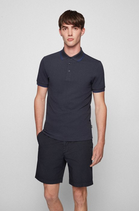 Slim-fit polo shirt in double-knit cotton, Dark Blue