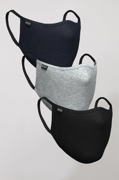 Three-pack of face masks in cotton, Patterned