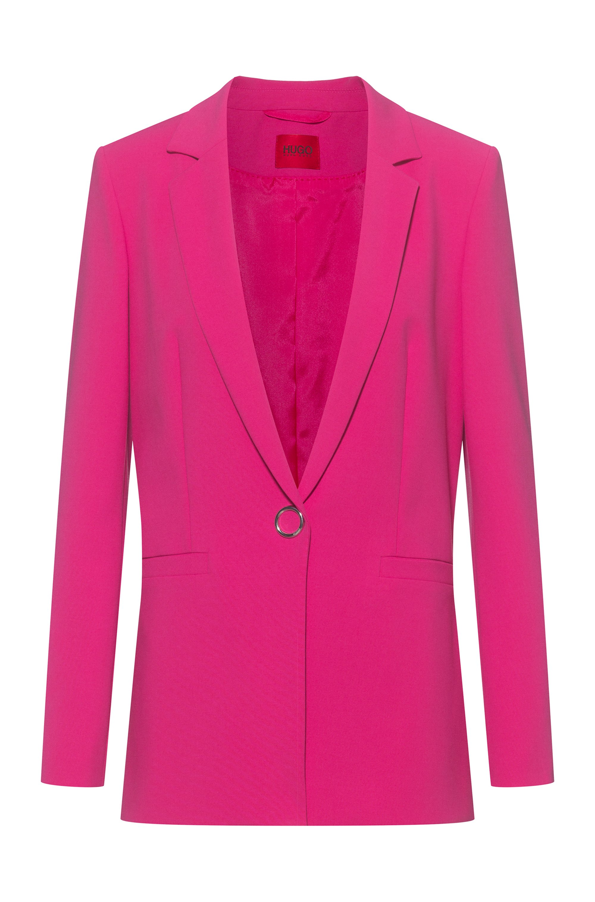 Long-length regular-fit jacket with hardware trims, Pink