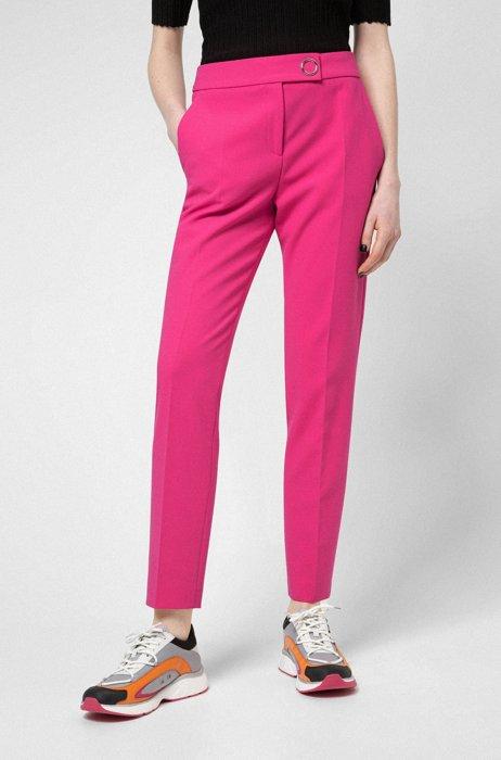 Slim-fit cigarette pants with hardware trim, Pink