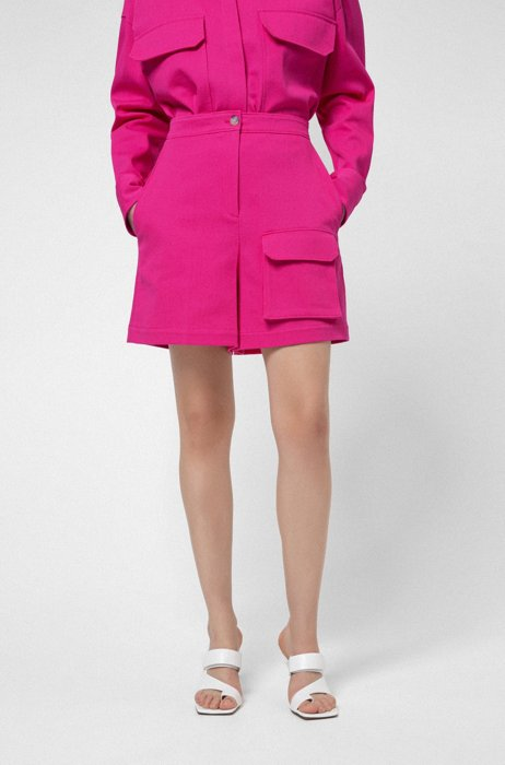Regular-fit shorts in stretch cotton with utility pocket, Pink