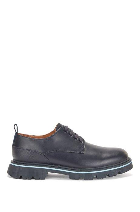 Chaussures derby en cuir de veau avec contrefort texturé, Bleu foncé