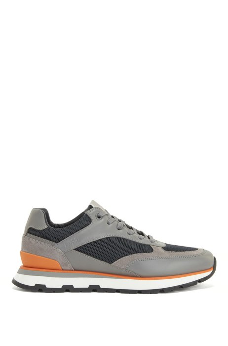 Running-inspired trainers in mixed leathers, Light Grey