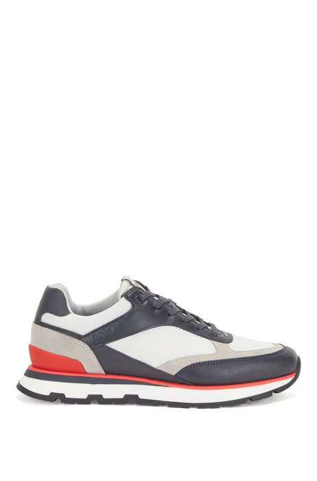 Running-inspired trainers in mixed leathers, Light Blue