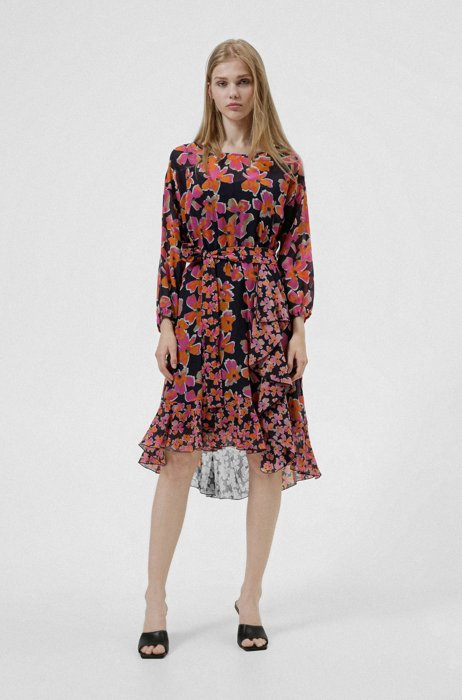 Belted dress in cotton and silk with floral print, Patterned