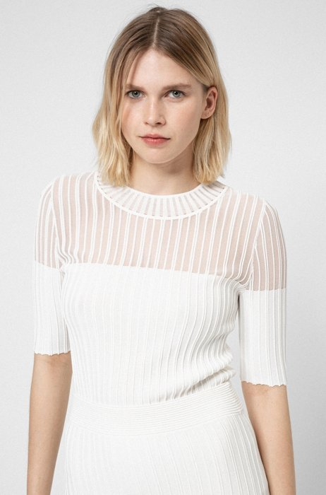 Slim-fit short-sleeved sweater with transparent panel, White