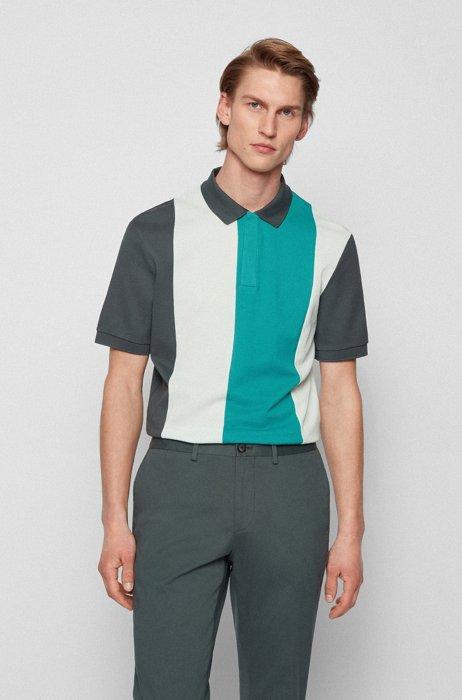 Mercerised-cotton polo shirt with block stripes, Dark Green