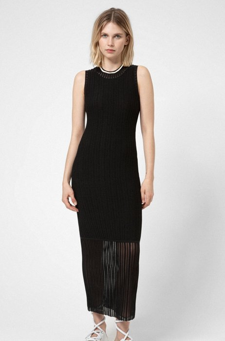 Subway dress in super-stretch fabric with sheer accents, Black