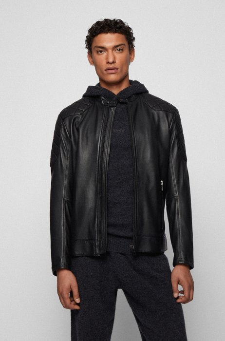Slim-fit jacket in plongé leather with quilted details, Black