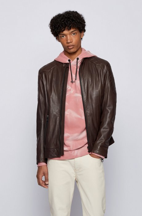 Slim-fit jacket in plongé leather with quilted details, Dark Brown