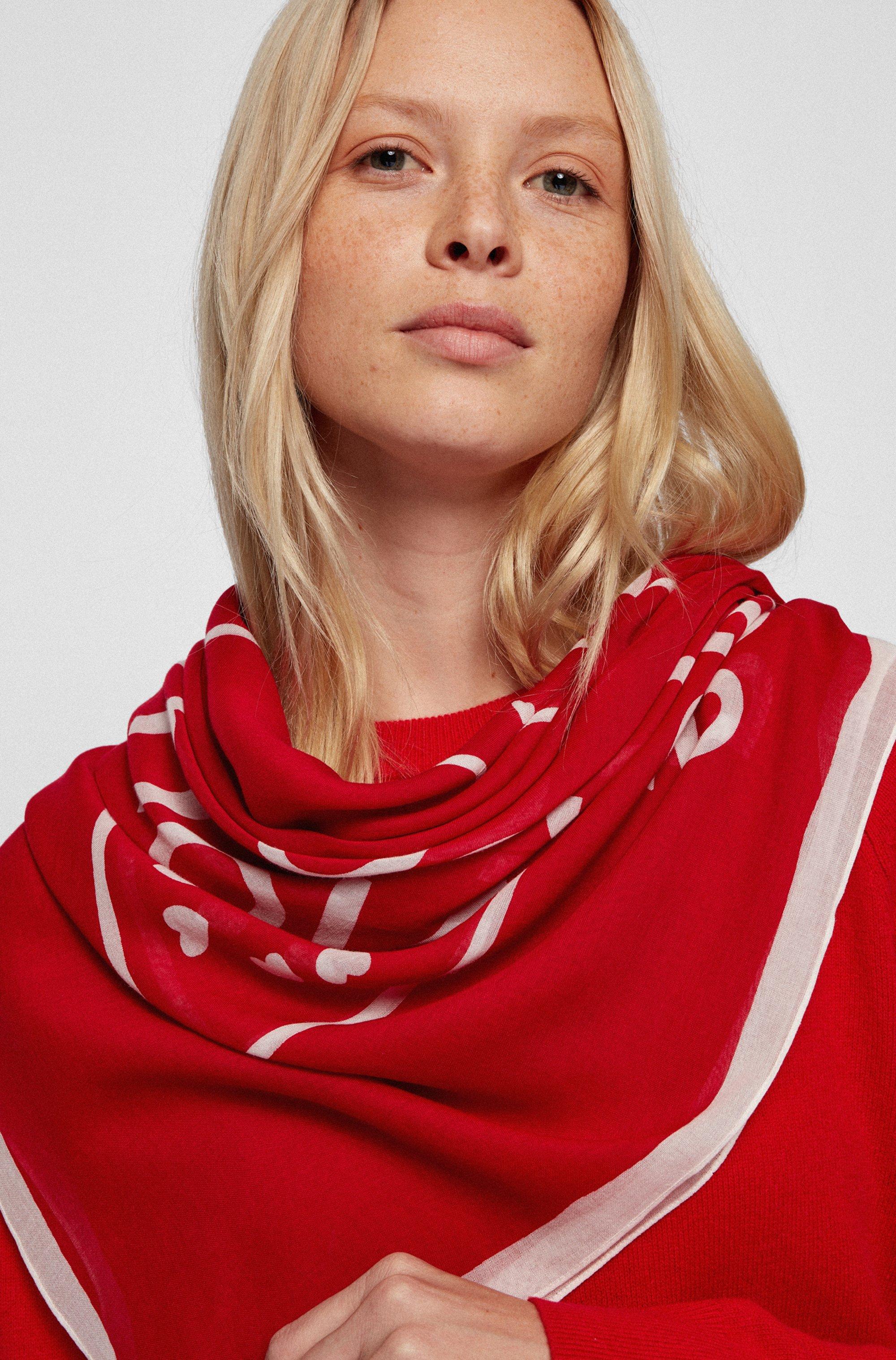 Slogan scarf in a cotton-modal blend