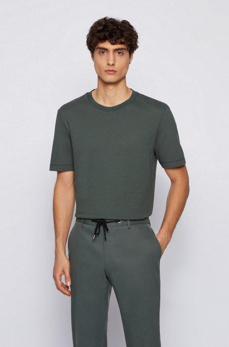 T-shirt en coton mélangé à la structure jacquard effet bulle, Vert sombre
